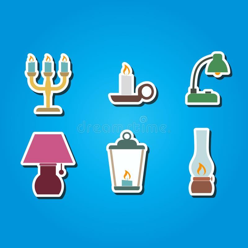 Uppsättning av färgsymboler med olika lampor vektor illustrationer