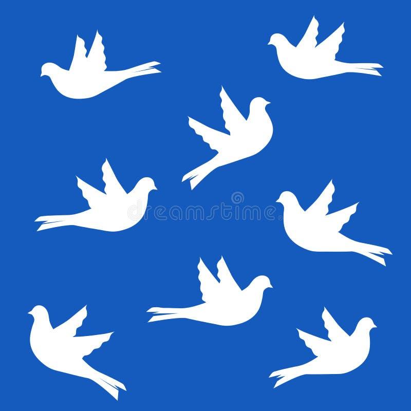 Uppsättning av fågelkonturer - flygduvor royaltyfri illustrationer