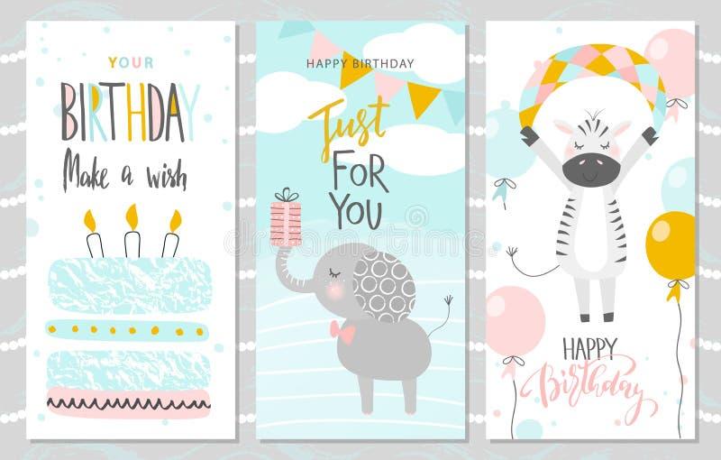Uppsättning av födelsedaghälsningkort och partiinbjudanmallar med den gulliga elefanten, sebran och kakan också vektor för coreld vektor illustrationer