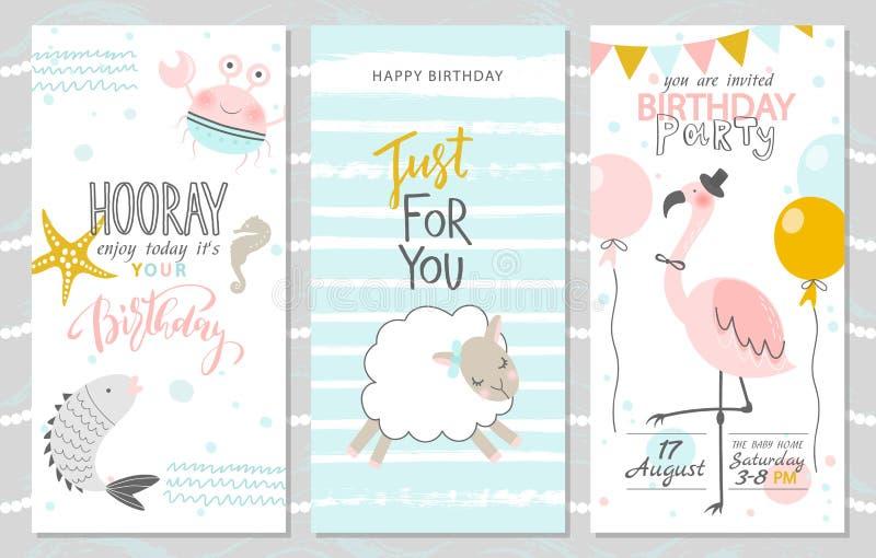 Uppsättning av födelsedaghälsningkort och partiinbjudanmallar med den gulliga fisken, krabban, lammet och rosa färgflamingo vekto stock illustrationer