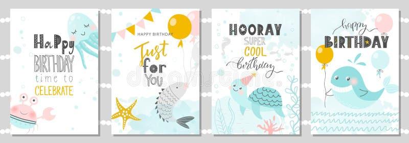 Uppsättning av födelsedaghälsningkort och partiinbjudanmallar med den gulliga krabban, bläckfisken, fisken, sköldpaddan och valet stock illustrationer