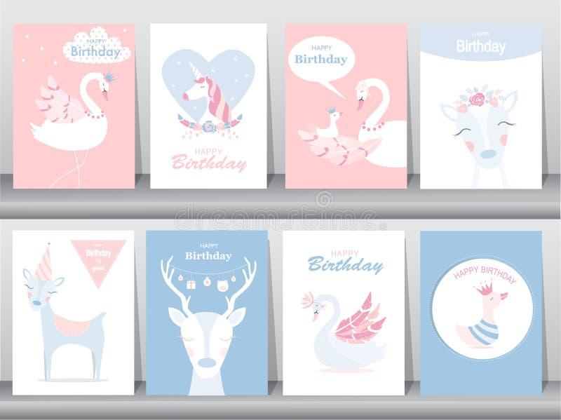 Uppsättning av födelsedaginbjudankort, affisch, hälsning, mall, djur, enhörning, stork, and, gås, vektorillustrationer royaltyfri illustrationer