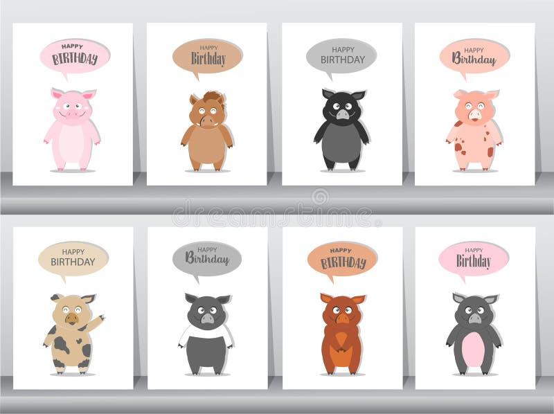 Uppsättning av födelsedaginbjudankort, affisch, hälsning, mall, djur, vildsvin, svin, gödsvin, vektorillustrationer stock illustrationer
