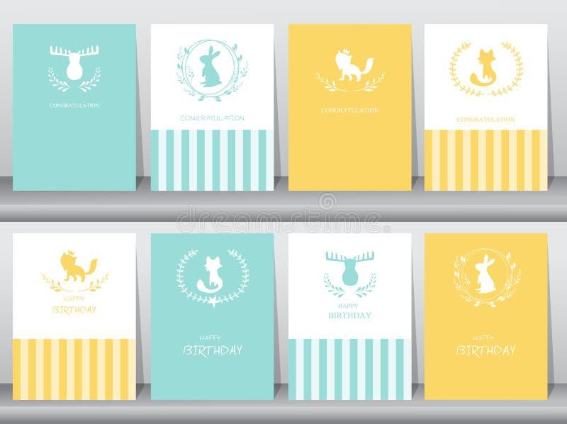 Uppsättning av födelsedagkort, affisch, mall, hälsningkort, djur, vektorillustrationer vektor illustrationer