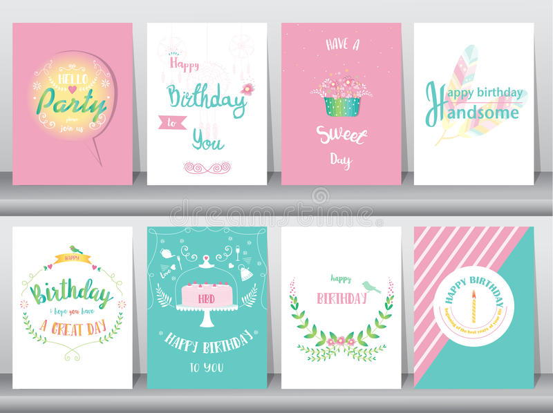 Uppsättning av födelsedagkort, affisch, mall, hälsningkort som är söta, ballonger, kaka, fjäder, vektorillustrationer vektor illustrationer