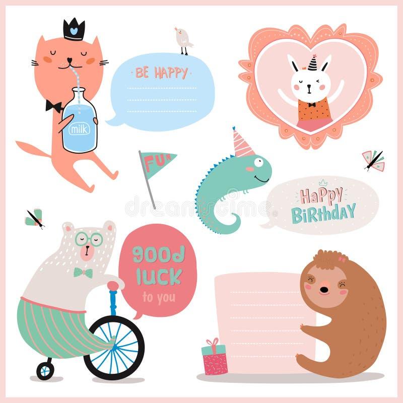 Uppsättning av födelsedagkort, gåvaetiketter, etiketter stock illustrationer