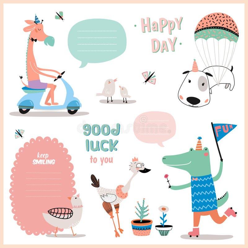Uppsättning av födelsedagkort, gåvaetiketter, etiketter royaltyfri illustrationer
