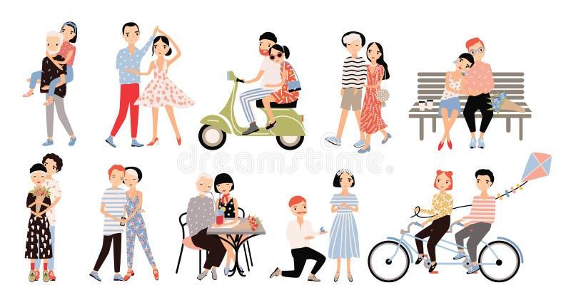 Uppsättning av förälskade par Olika romantiska lägen som går och att tala och att cykla och att krama, förbindelseförslag, dans,  stock illustrationer