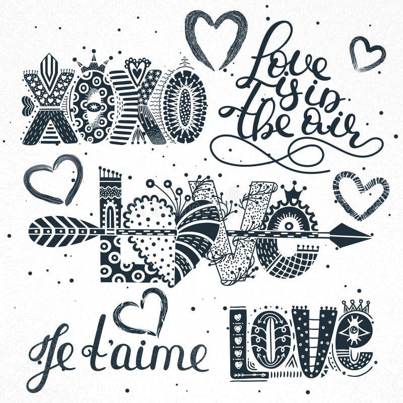 Uppsättning av förälskelsecitationstecken Hand dragen bokstäver lycklig s valentin för dag XOXO Je t `-aime Frihandsstil Romantis royaltyfri illustrationer