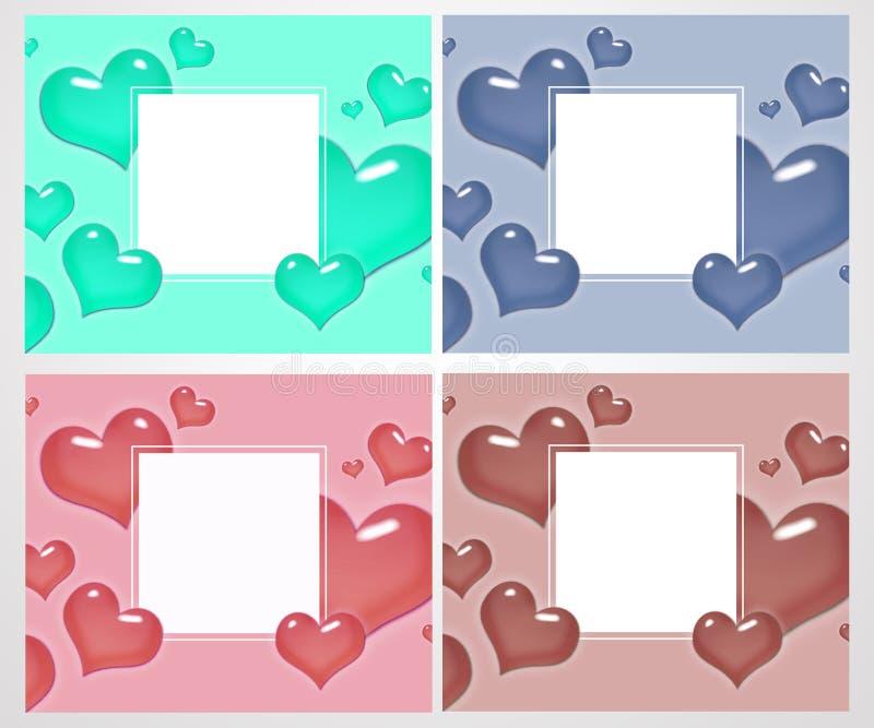 Uppsättning av förälskelsekort och baner för dag för valentin` s Utmärkt för affisch, meny, partiinbjudningar, socialt massmedia, royaltyfri illustrationer