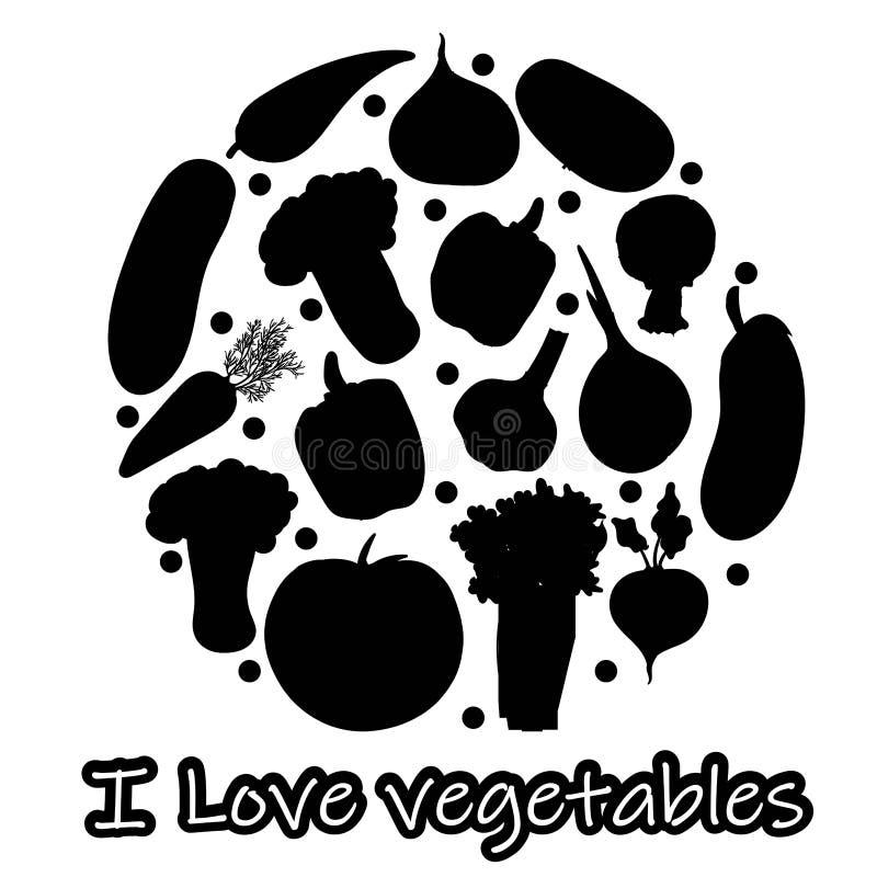 uppsättning av för örtkrydda för grönsaker som tokiga symboler för smaktillsats isoleras på svart bakgrund F?rgrikt m?rka f?r sid royaltyfri illustrationer