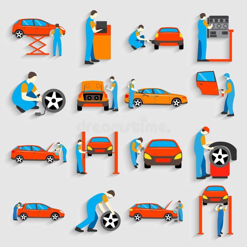 Uppsättning av för bilservice för auto mekaniker reparationen och royaltyfri illustrationer