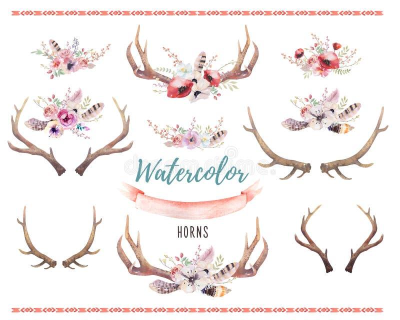 Uppsättning av för bohohorn på kronhjort för vattenfärg det blom- trycket västra bohem de vektor illustrationer