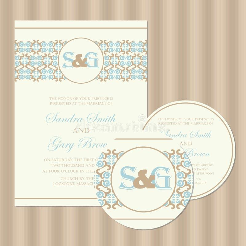 Uppsättning av för bröllopinbjudan för tappning blom- kort vektor illustrationer