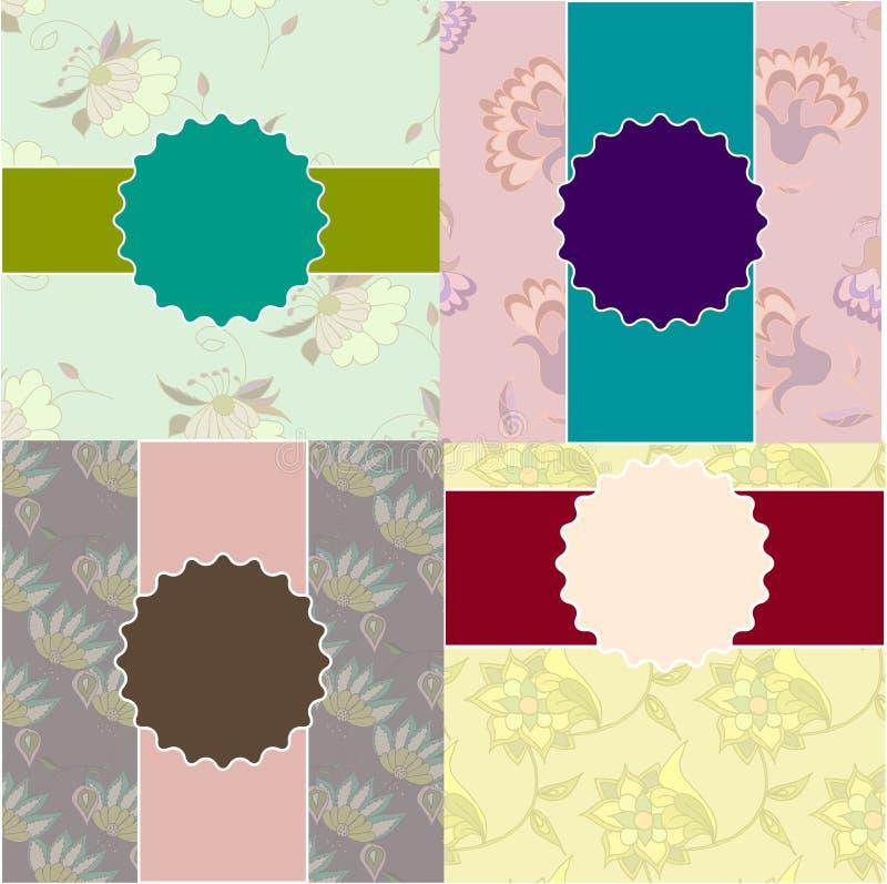 Uppsättning av för bröllopinbjudan för tappning blom- mallar vektor illustrationer