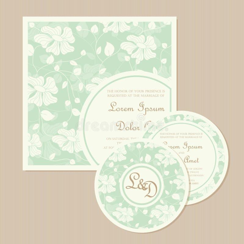 Uppsättning av för bröllopinbjudan för tappning det blom- kortet stock illustrationer