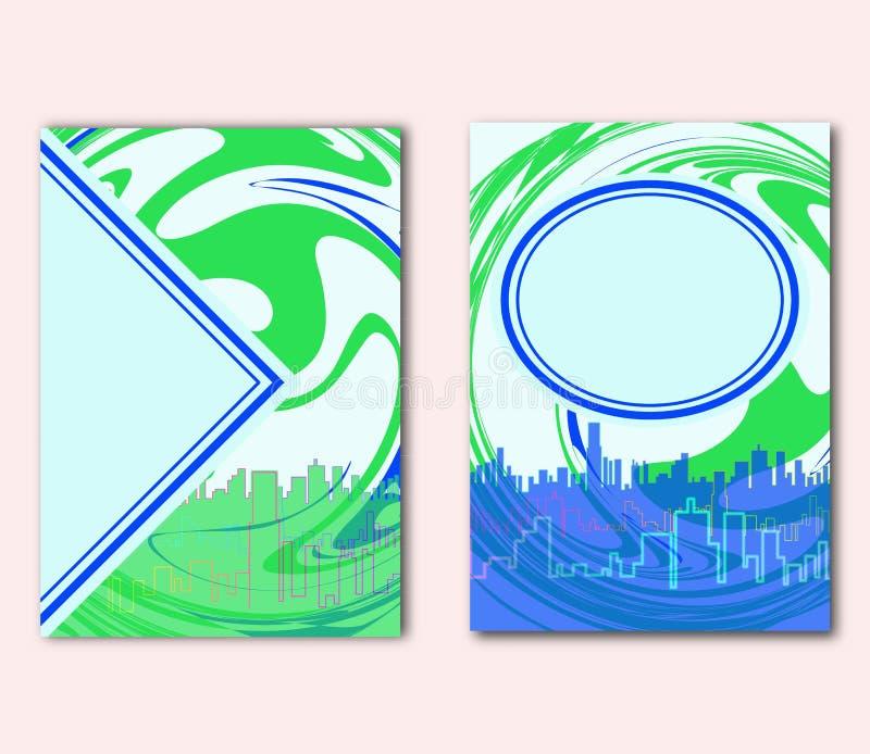 Uppsättning av för Eco för jorddag designen för reklamblad eller för räkning begrepp Grön organisk cirkel på stadsbakgrund Idé fö vektor illustrationer