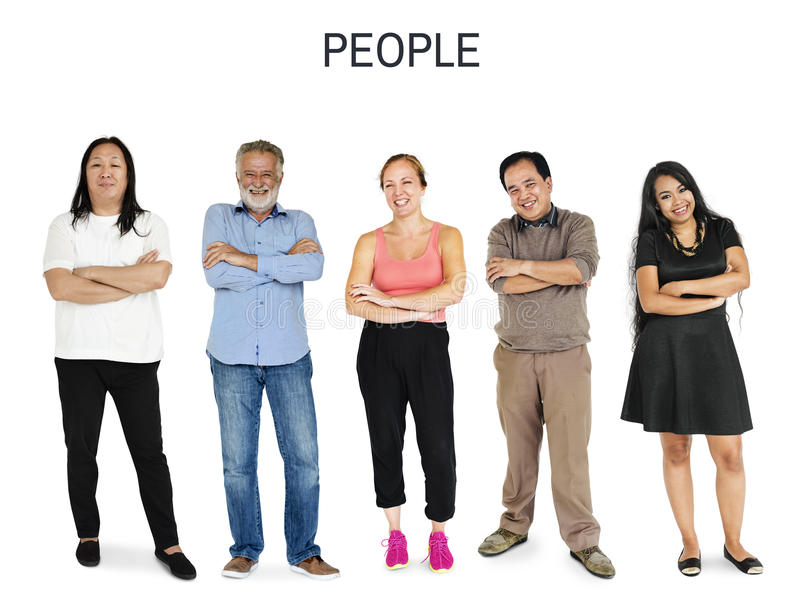 Uppsättning av för folkgest för mångfald den vuxna ståenden för studio för livsstil arkivbild
