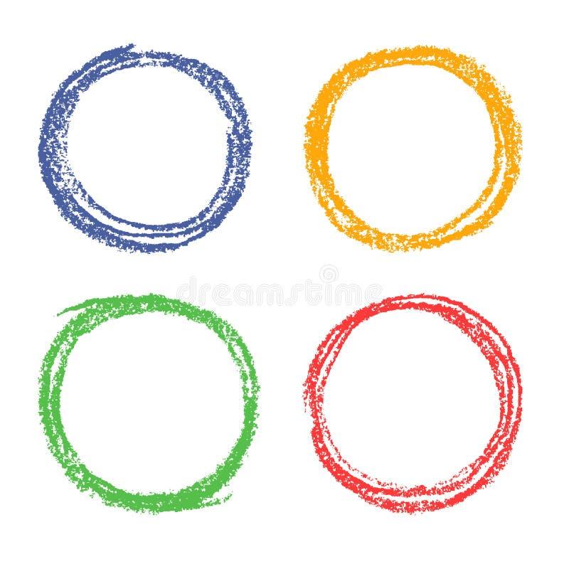 Uppsättning av för handteckning för färgpenna färgrika beståndsdelar för design för runda vektor illustrationer