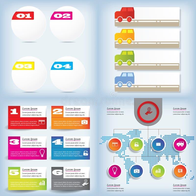 Uppsättning av för rengöringnummer för modern design banret med affärsidéen som används för websiteorientering Infographic stock illustrationer