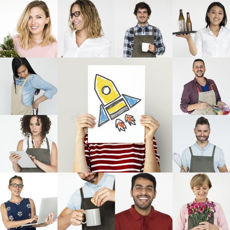 Uppsättning av för små och medelstora företagfolk för mångfald Startup collage för studio royaltyfria foton