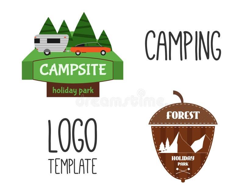 Uppsättning av för turismlopp för affärsföretag den utomhus- logoen stock illustrationer