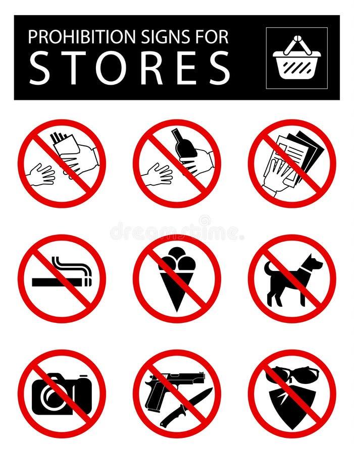 Uppsättning av förbudtecken för diversehandel vektor illustrationer