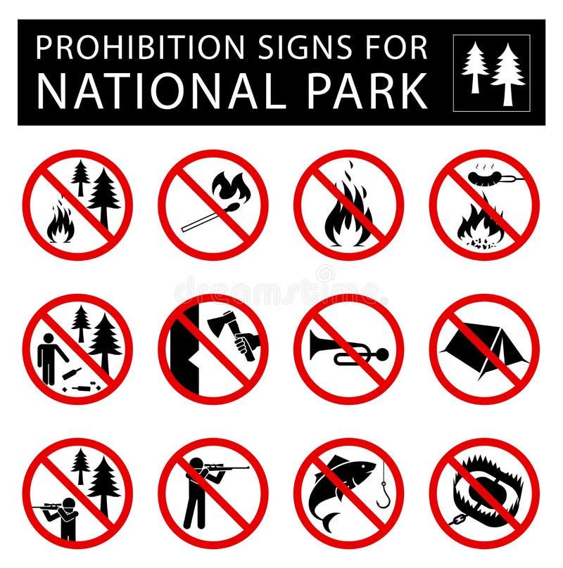 Uppsättning av förbudtecken för nationalpark royaltyfri illustrationer