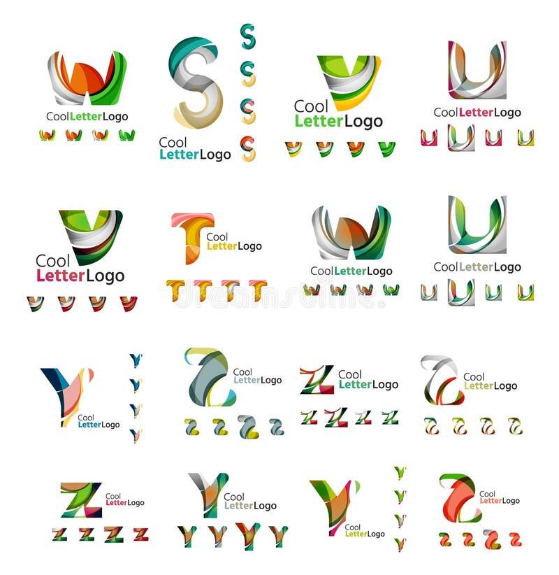 Uppsättning av företags logoer för färgrik abstrakt bokstav vektor illustrationer