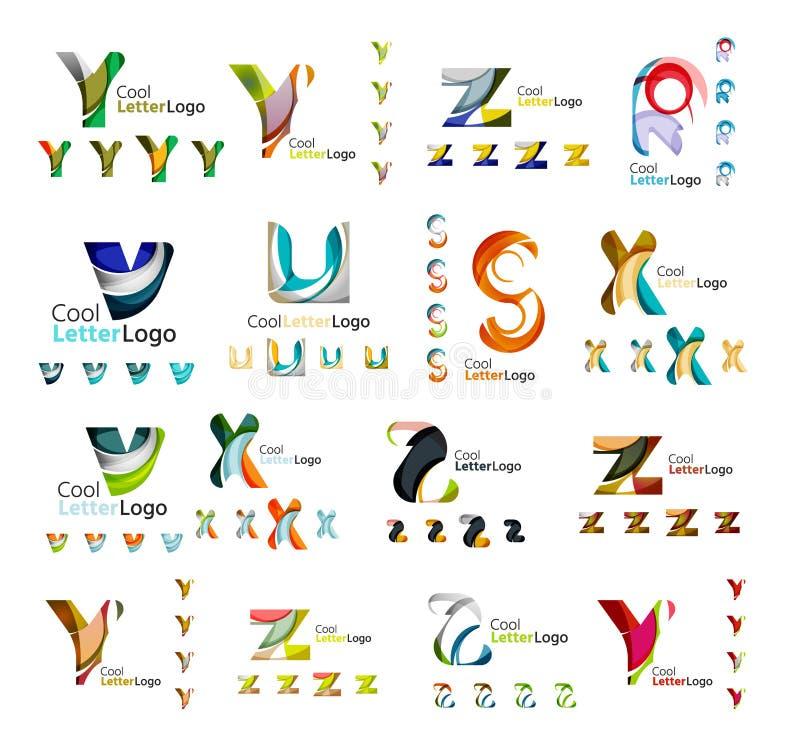 Uppsättning av företags logoer för färgrik abstrakt bokstav royaltyfri illustrationer