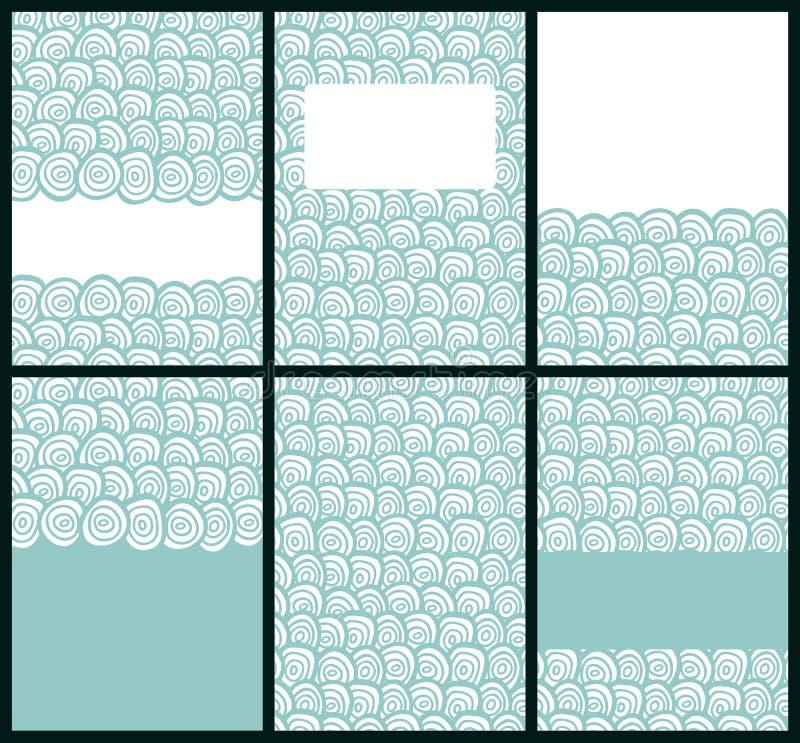 Uppsättning av företagsaffärskort Klottermallar av vykort Retro färgbroschyr med hand drog texturer stock illustrationer