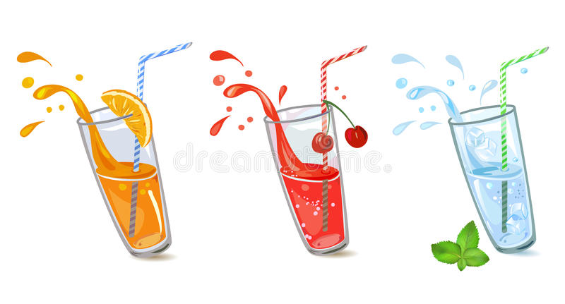 Uppsättning av förnyande drinkar vektor illustrationer