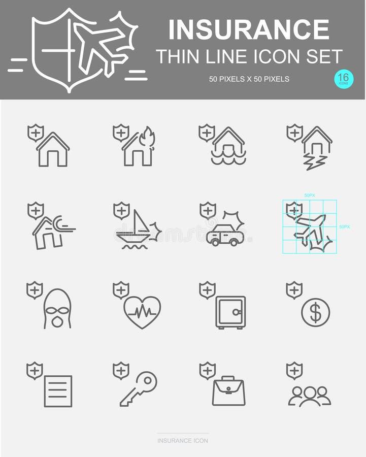 Uppsättning av försäkringvektorlinjen symboler Inkluderar liv, säkerhet, olyckan, egenskapen, lopp och mer stock illustrationer