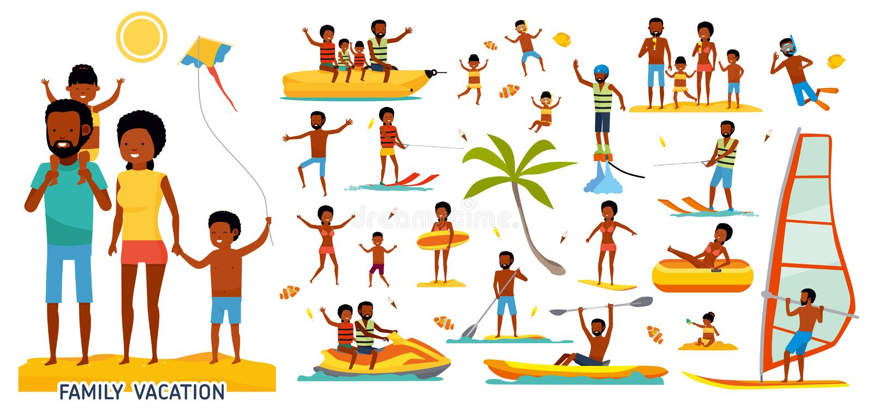 Uppsättning av familjen på stranden Aktivt loppbegrepp Illustration för tecknad filmlägenhetstil Afrikansk amerikanfolk Isolerat  stock illustrationer