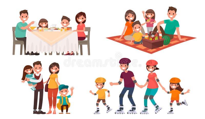 Uppsättning av familjfritid Äta lunch hemma, ha picknick i natur, gå in vektor illustrationer
