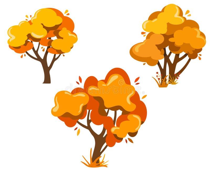 Uppsättning av fantasihöstträd, härliga träd för garnering, baner, affischer och rengöringsdukdesigner, vykort royaltyfri illustrationer