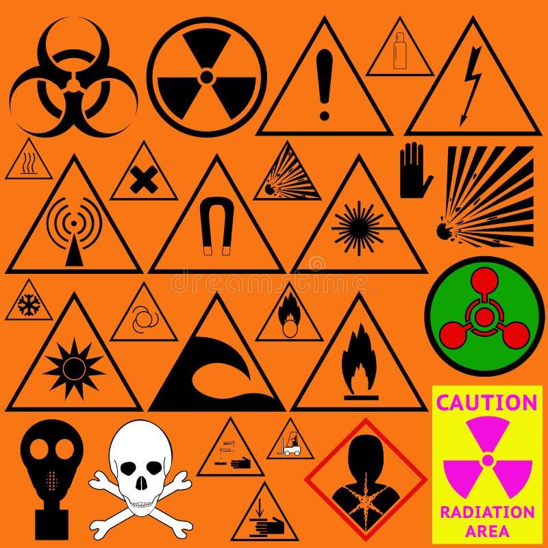 Uppsättning av farasymboler Biologiskt, utstrålning, kemikalie och annan vektor illustrationer