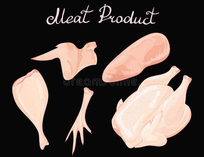 Uppsättning av fegt kött Vektorsamling av köttprodukter från höns Carcase av hanen Helhetsbenet Filé av stock illustrationer