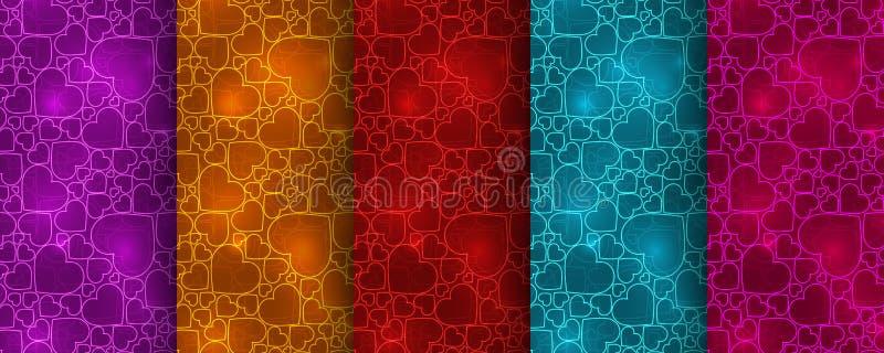 Uppsättning av fem färgrika sömlösa modeller med neonhjärtor royaltyfri illustrationer