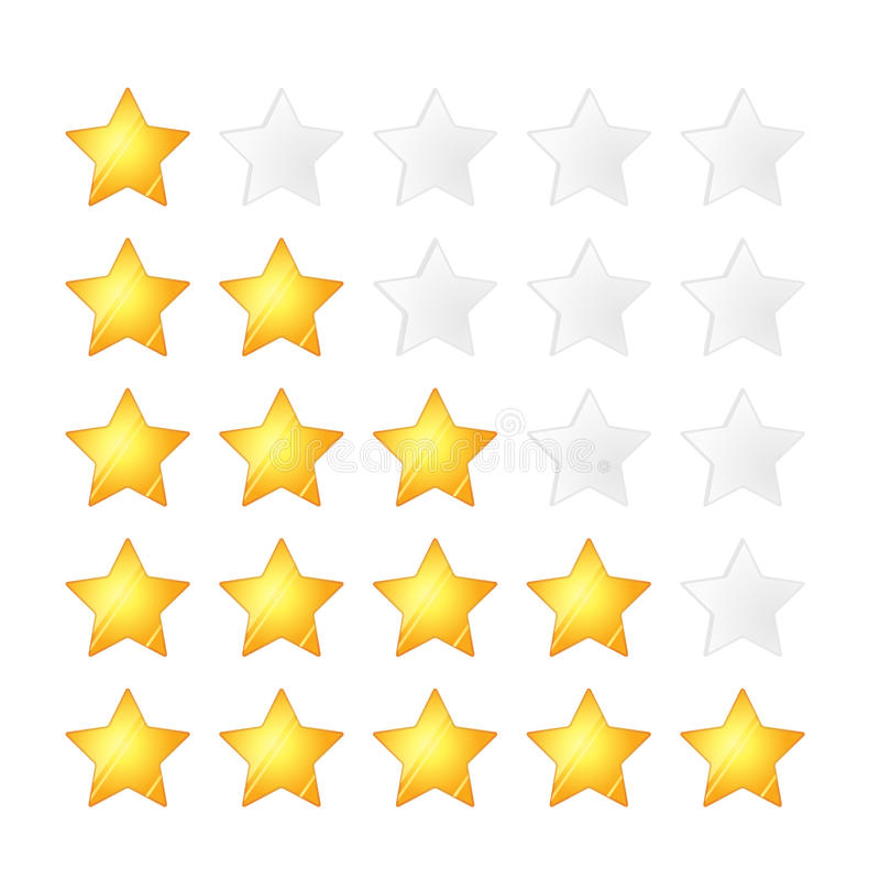 Uppsättning av fem guld- stjärnor som klassar mallen på vit stock illustrationer