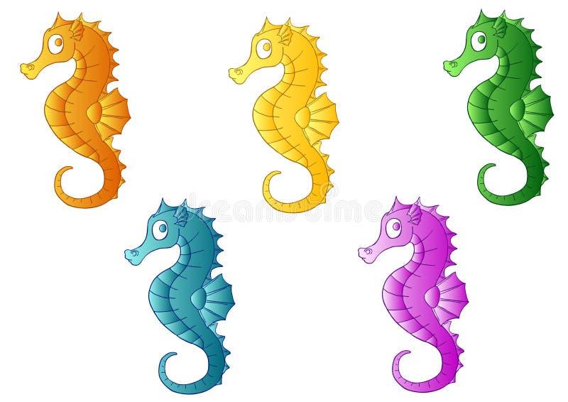 Uppsättning av fem mång--färgade havshästar vektor illustrationer