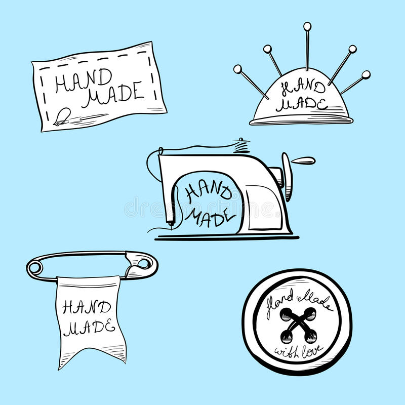 Uppsättning av fem tappningklistermärkear eller etiketter för hand - gjorda produkter arkivbilder