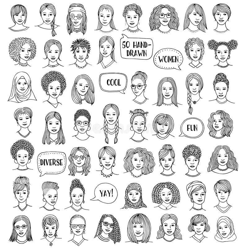 Uppsättning av femtio hand drog kvinnligframsidor royaltyfri illustrationer