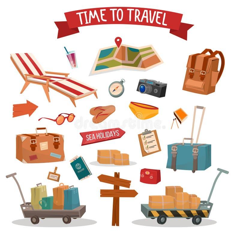 Uppsättning av feriesommartidbeståndsdelar med bagage royaltyfri illustrationer