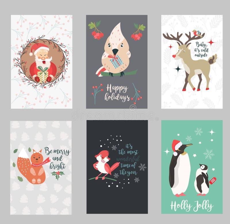Uppsättning av ferievykort med Santa Claus och roliga djur royaltyfri illustrationer