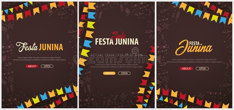 Uppsättning av Festa Junina bakgrunder med beståndsdelar för handattraktionklotter och partiflaggor Brasilien eller latin - ameri vektor illustrationer