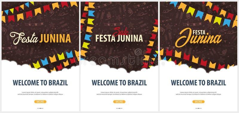 Uppsättning av Festa Junina bakgrunder med beståndsdelar för handattraktionklotter och partiflaggor Brasilien eller latin - ameri royaltyfri illustrationer