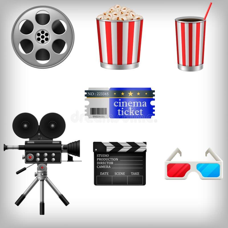 Uppsättning av filmbeståndsdelar och bioobjekt stock illustrationer