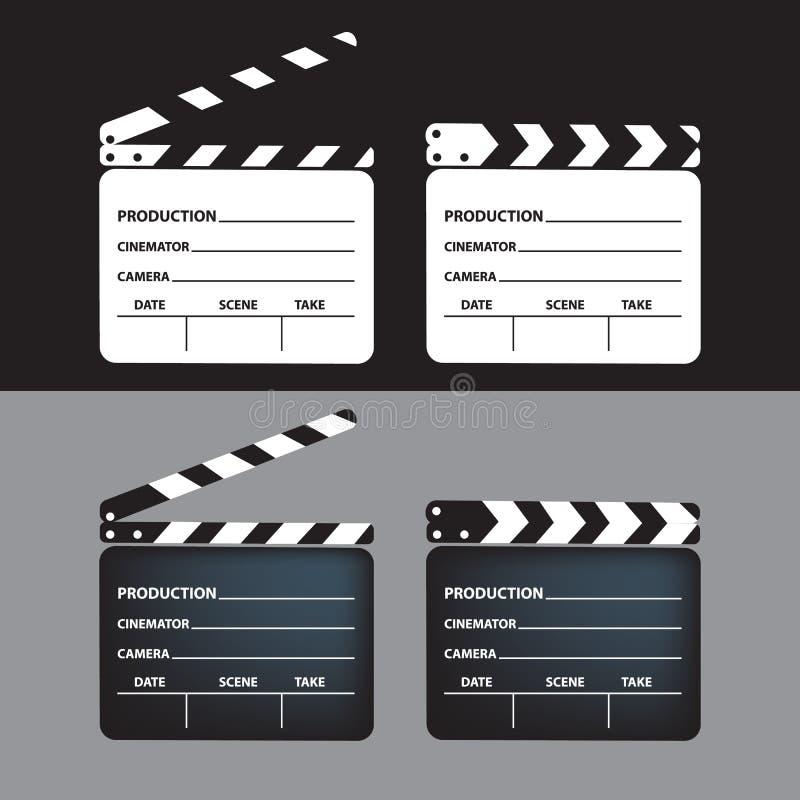 Uppsättning av filmclapperboard tom filmclapperboard också vektor för coreldrawillustration arkivfoto