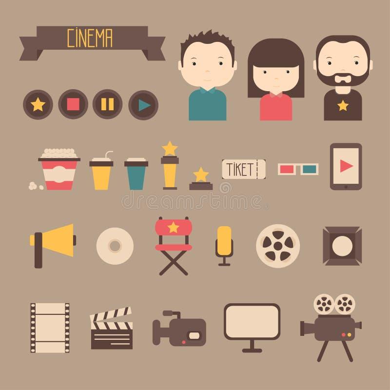 Uppsättning av filmdesignbeståndsdelar och biosymboler in vektor illustrationer